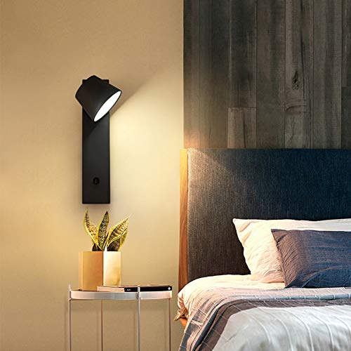 Aplique De Pared De Estilo Moderno, Apliques De Pared Minimalistas,6000K-3W, Interruptor Independiente del Cuerpo De La Lámpara, Sala De Estar/Dormitorio/Estudio (Negro),Negro,White Light
