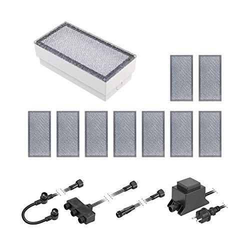 ledscom.de LED Pflaster-Stein Gorgon Boden-Einbauleuchte für außen, 20x10cm, 12V, warm-weiß 10er Set