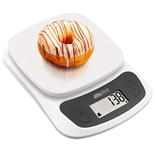 11lb/5kg Digitale Keukenweegschalen|Premium RVS Platform Kookweegschalen|Elektronische Voedselschaal met LCD Display|4 Eenheidswisseling|Tarievenfunctie|Eenvoudige Opslag|L5.1 X W7.0 X H1.1in ++ Abs Material