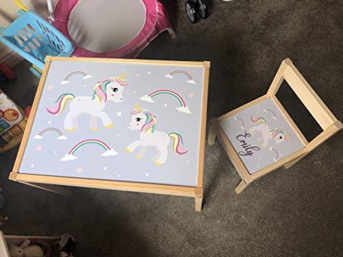 MakeThisMine Adhesivo personalizado solo para mesa infantil y 3 sillas de madera Ikea LATT nombre grabado unicornio brillante arco iris impreso escritorio de juego para niños pequeños, niñas, amigos,