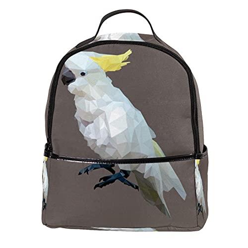 ATOMO Casual Mini Mochila Poligonal Azufre Crested Cockatoo Bird PU Cuero Viajes Bolsas de Compras Daypacks