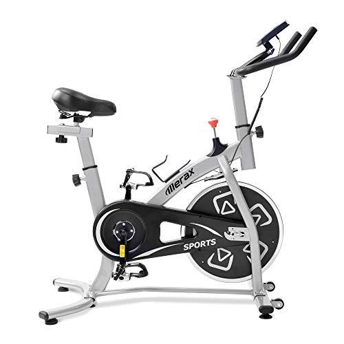 Bicicletas Estáticas de Spinning Ajustables Bicicleta Fitness Pantalla LCD, Bicicleta de Ejercicios Aeróbicos Sport para Interiores Entrenamiento Ejercicios Cardiovasculares [EU Stock] (Silver)