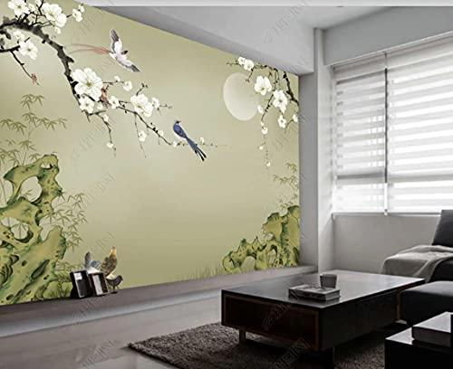 Carta Da Parati Muro 3D Ewha Paesaggio Di Fiori E Uccelli Non Tessuto Camera Da Letto Fotomurali Murale