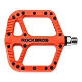 ROCKBROS Mountain Bike Pedals Nylon Composite Bearing 9/16' MTB Bicycle Pedals with Wide Flat Platform Black