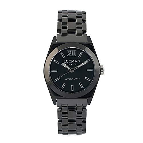 Locman Italy Stealth - Reloj de Pulsera para Mujer, Acero Inoxidable, Color Negro 0204