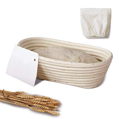 Oval Banneton Proofing Baskets for Sourdough Bread | Oval & Baguette Wicker Cane Brotform Set for Batards with Cloth Liner | Food-Safe Cane Bread Proofer for Rising (1, 10' Oval)