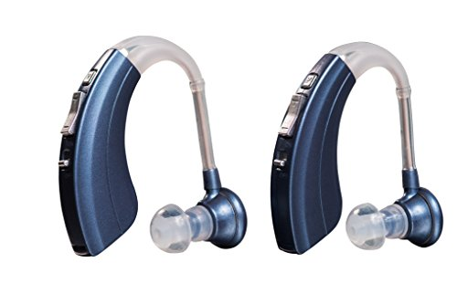 Digital Hearing Amplifiers Qty 2 (Modern Blue) 500hr Battery by Britzgo BHA-220D - 1 Year Warranty!!