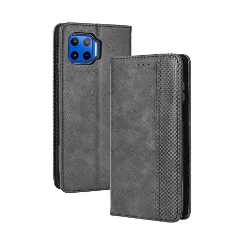 LAGUI Kompatible für Motorola Moto G 5G Plus Hülle, Leder Flip Hülle Schutzhülle für Handy mit Kartenfach Stand & Magnet Funktion als Brieftasche, schwarz