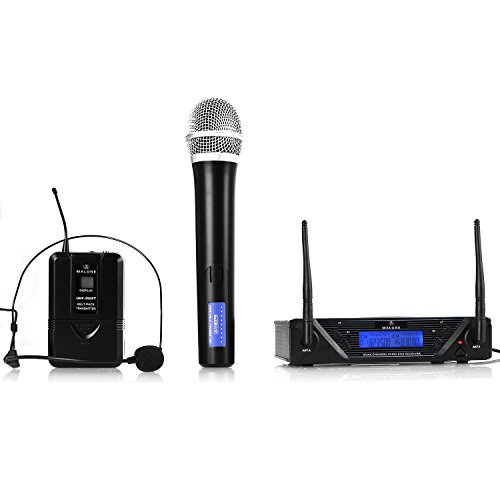 MALONE UHF 450 Duo Wireless Microphone System 2-Channel Mic UHF Practical...