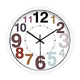 Binn Reloj de Cocina Reloj de Pared Digital de Color de la Sala de Estar de Moda, Reloj de Metal de Metal de precisión de Ahorro de energía Tranquila Decoracion Hogar (tamaño : 16inch-White)