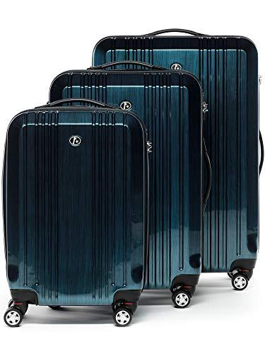 FERGÉ Kofferset Hartschale 3-teilig Cannes Trolley-Set mit Handgepäck 3er Set Hartschalenkoffer Roll-Koffer Reise-Trolley mit 4 Rollen ABS & PC blau