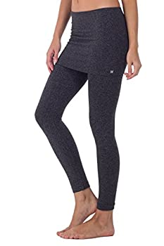 Kurve Women's Seamless Skirt Leggings – Casual Soft Stretch Solid Skirted Tights Pants Sports Workout Yoga  Made in USA   Black Tritone Heather X-Small/Medium