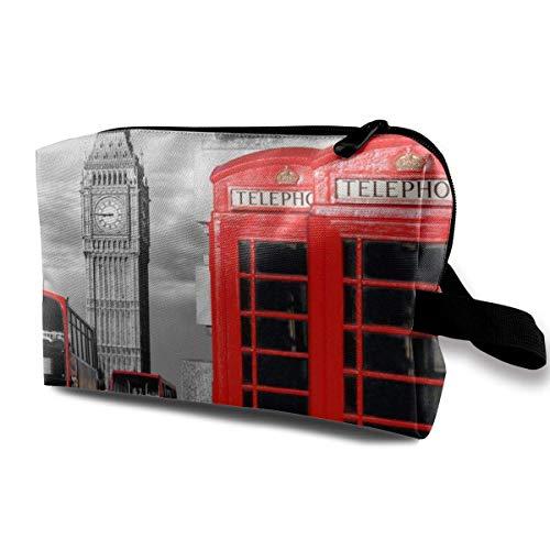 Hdadwy Inglaterra Reino Unido Retro Londres Teléfono Bolsa de cosméticos Bolsas de Maquillaje para Mujeres, Bolsas de Maquillaje de Viaje Bolsa de Aseo espaciosa Accesorios Organizador con Cremallera