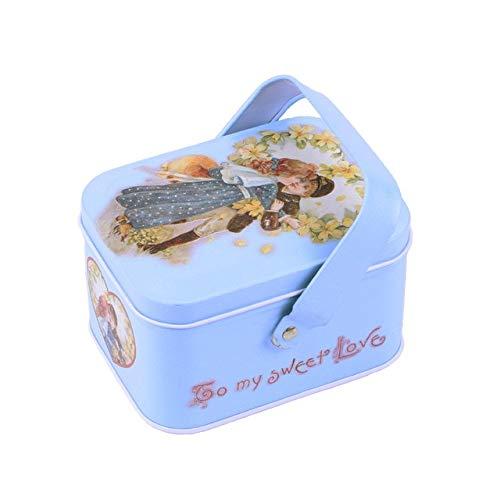 N / A 1 Stück Metallbox Neuankömmling Vintage kleinen Koffer Zinn Süßigkeiten Geschenkbox Keks Schokolade Box Aufbewahrungsbox Hochzeitsgeschenk 10.5x7.7x6CM
