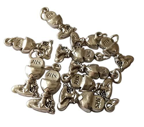 Kelch Erstkommunion Mini Anhänger Versilbert - Charms für DIY Hochzeit Gefälligkeiten - Handgefertigtes Juwel - Maßnahmen: 2 x 1,1 x 0,4 cm - 10 Stück