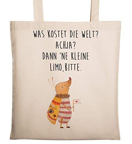 Mr. & Mrs. Panda Tasche, Stofftasche, Tragetasche Nachtfalter mit Fähnchen mit Spruch - Farbe Transparent