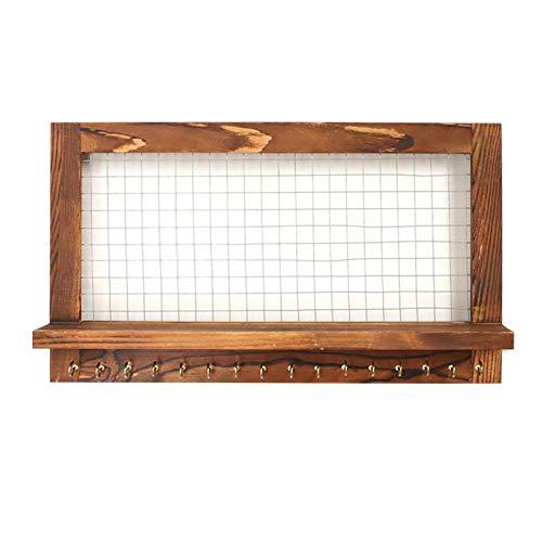POHOVE Organizador de joyas de madera para colgar en la pared, con...
