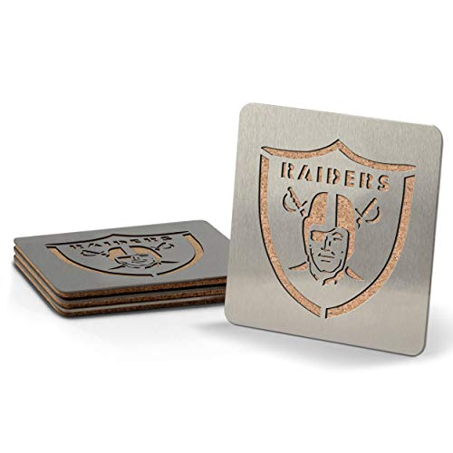 YouTheFan NFL Las Vegas Raiders Boaster Stainless Steel Coaster Set of 4 4  x 4
