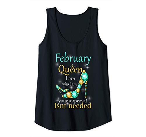 Womens February Queen Happy Birthday To Me Tank Top