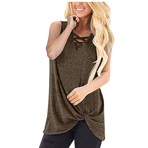 Rifuli Damen T-Shirt Weste Ärmellose Criss Cross Tanktops für Frauen Twist Knot Loose T Shirts Sommer Elegant Sexy Oberteile Bluse