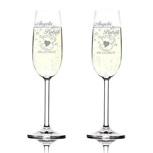 Set de 2 Coupes à Champagne Montana Cadeau de Mariage - personnalisé avec Gravure - nom Date - Coeur en Coquille avec Bulles