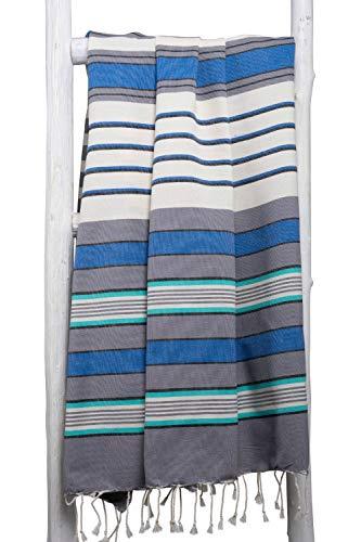 ZusenZomer Fouta XL Casablanca -Toalla Hammam Ligero Toalla de Playa 100% Algodón, Suave - Foutas Playa Comercio Justo (200x200 cm, Azul, Gris, Ecru)