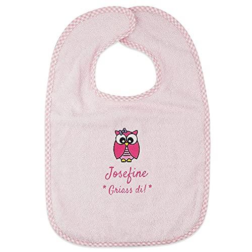 Wolimbo Lätzchen mit Klettverschluss - Rosa - personalisierbar - mit Wunsch Name/Motiv - bestickt - Babylätzchen - für Mädchen und Jungs