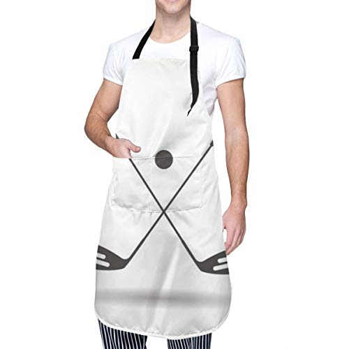 COFEIYISI Delantal de Cocina Club Putter Palos de pelota de golf Sombra paralela Insignia de recreación deportiva Negro Equipo cruzado de competencia Delantal Chefs Cocina para Cocinar/Hornear