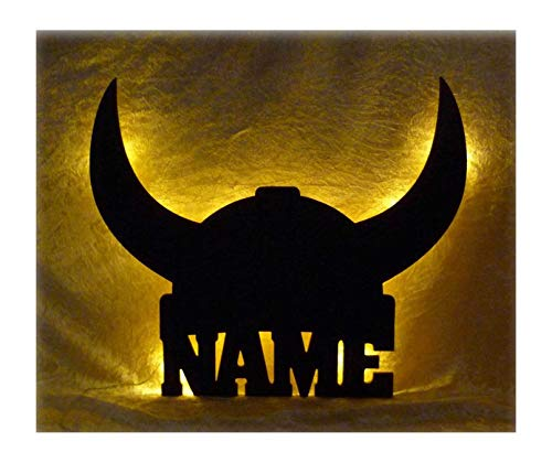Schlummerlicht24 3d Led Lampe Wikinger Helm Deko aus Holz mit Name-n personalisiert Wand-Tattoo Geschenk-e für Erwachsene Freund-in Frauen Frau Männer im Kinder-Zimmer Schlafzimmer