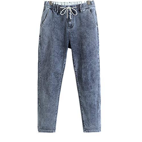 Huntrly Pantalones Vaqueros de Primavera para Hombre Pantalones Vaqueros Sueltos de Pierna Recta Moda Regular Casual con cordón Cintura elástica Pantalones de Mezclilla 29