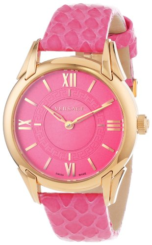Versace Women's VFF070013 'Dafne' Rose Gold Ion-Plated Stainless Steel Dress Watch with Leather Band