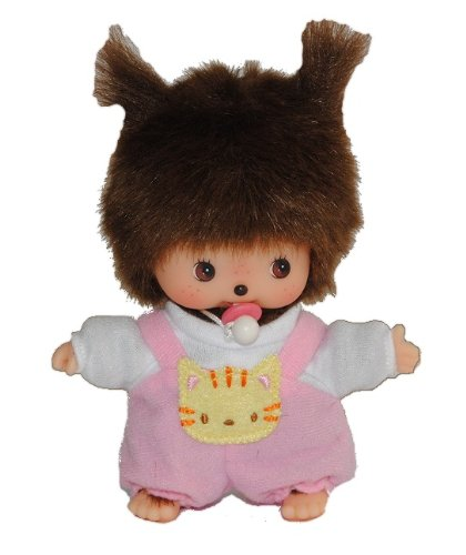 Unbekannt Bebichhichi Baby mit rosa / pink Latzhose und Schnuller - Monchichi klein 14,5 cm Mädchen Monchhichi