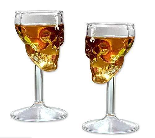 Kreative Weingläser in Totenkopf-Form, für Wein, Cocktails, Whisky, Champagner, 75 ml, 2 Stück