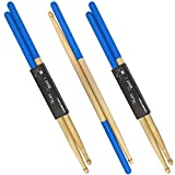3 Pair Drum Sticks Non-Slip Classic Maple Wood Drumsticks 5A Drumsticks for Adults, Kids, Students, and Beginners (Blue)