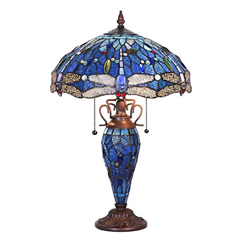 Capulina Tiffany Table Light, 3-Light Tiffany Style Table Lamp with Night Light, Beautiful Dragonfly Style Stained Glass Table Lamp, W15.9' X H24' Double Lit Tiffany Style Desk Lamp for Living Room