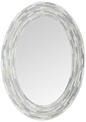 Headwest Reeded Charcoal Oval Tiles Wall Mirror, 23 inches by 29 inches, -