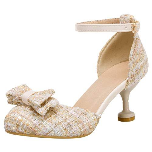 Mediffen Mujer Mini Tacón Correa De Tobillo Bowtie Sandalias Comodo Mujer Moda Verano Sandalias Noche Fiesta Prom Zapatos Beige Talla 36 Asiática/6.5Cm