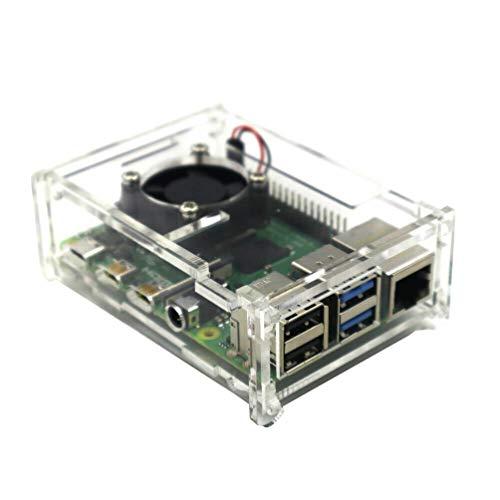 TOYANDONA Capa transparente compatível com Raspberry Pi 4 com ventilador de refrigeração