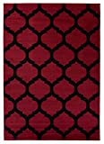Tapis Salon Poils Ras Moderne Marocain Motif Géométrique Couleur Rouge 160 x 230 cm