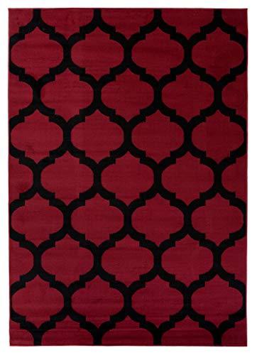 Tapis Salon Poils Ras Moderne Marocain Motif Géométrique Couleur Rouge 200 x 300 cm Grand XXL