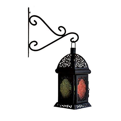 HINMAY Wandhalterung, Schmiedeeisern, Blumenhaken, Wandhalter für Pflanzkorb, Laternen mit Schrauben, Garten Balkon und Außendekoration, Schwarz , Free Size