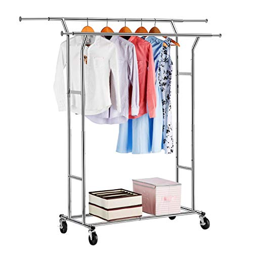 LANGRIA Double Rail Garment Racks Clothes Racks Commercial Grade Height Adjustable Heavy Duty...