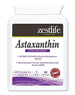 Zestlife Astaxanthin 4mg Capsules - Pack of 60 Easy to Swallow Capsules.