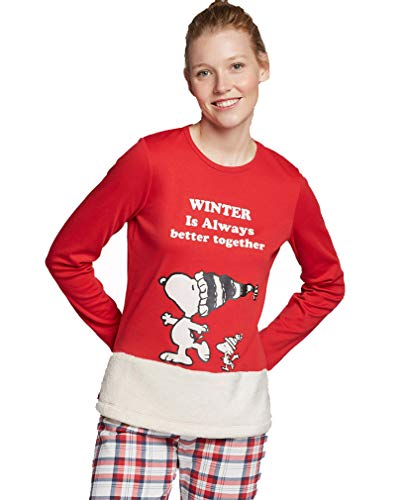 GISELA Pijama Largo Snoopy de Mujer (XXL, Rojo)