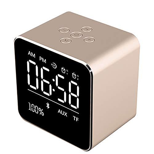 Draadloze klok draadloze Bluetooth-luidspreker mini-kubus draagbare luidspreker met LCD-display stereo-subwoofer met ingebouwde microfoon voor iPhone 6/6S/7 Plus/iPad/iPod Mini goud