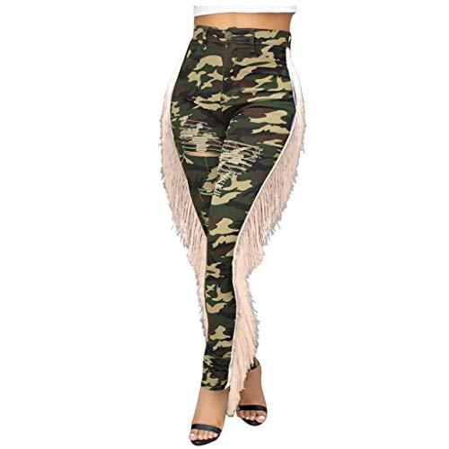 Panty's, joggingbroek, brede broeken, broeken vrouwen werken dunne hoog getailleerde camouflage zakken broek gat denim broek om X-Large groen
