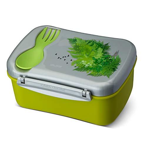 Carl Oscar Schwedische Design Lunch Box - Bento Box Brotzeitdose Lunchbox mit Kühlakku und Besteck hält Mehrere Stunden kühl, 17 x 12,5 x 8 cm grün