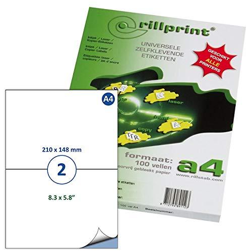 Rillprint Self Adhesive Labels Stickers | 200 Labels | 210 x 148 mm | 2...