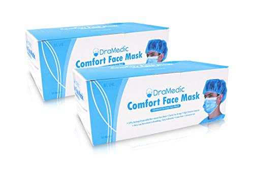 DraMedic 100 Masks in 2 Boxes Disposable Earloop Face Soft Breathable Mask -Dental, Pollen, Cleaning, Painting, Mouth, Cover, Travel, Dust, Doctor, Gardening, Weather, Salon, Nail
