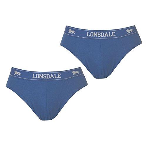 Lonsdale Herren 2Pk Brief Slip Unterhose Blau XL